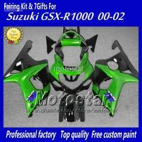 Wholesale - Custom fairing body kit with 7 gifts for SUZUKI GSXR 1000 K2 2000 2001 2002 GSXR1000 00 01 02 R1000 green black fair