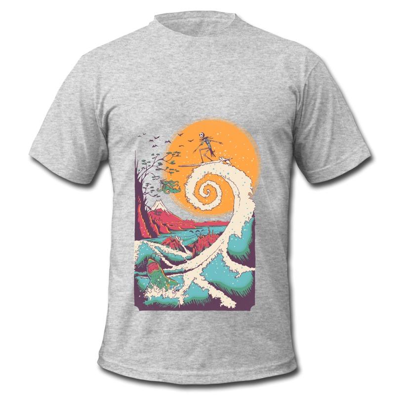 Wholesale Casual T Shirt Man Surfing Surfer Skeleton Design Funny Txt Man T Shirts Short Sleeve(China (Mainland))