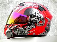MASEI 815 Motorcycle Helmets Mortgage Visor Red Skull Dual Lens Top ABS Open Face Helmet Electric Scooter Capacetes DOT Helmet