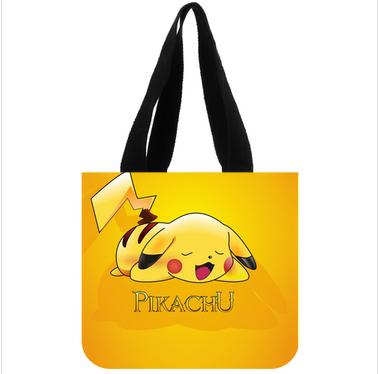 2014 new hot sale high quality anime pikachu casual women cotton canvas tote bag fashion female handbag one side(China (Mainland))