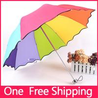 New !! High Quality Rainbow Flouncing Three folded Vaulted Umbrella Men Folding Children Umbrella Umbrellas Rain Women Beach