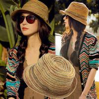New Fashion Women Men Straw Braid Fedoras Jazz Hat Cap Beach Cap Sun Hat hat summer beach straw hats, free shipping 80229