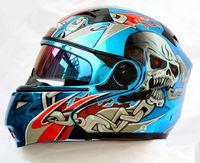 New Arrival MASEI 815 Helmets Only 4 pcs L Blue Plating Skull Motorcycle Helmets Double Visor  ABS Open Face Motorbike Helmet