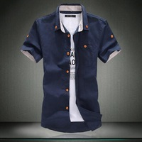 Plus Size M-6XL 2014 summer new men's casual short-sleeved linen shirts Wooden button design slim fit shirt for man High Quality