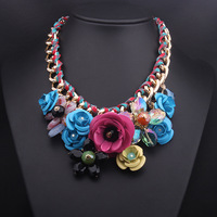 2014 New Design Gold Chain Spray Paint Metal Flower Resin Bead Rhinestones Crystal women Bib Luxury Jewelry Necklaces & Pendants