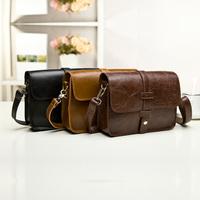 New Arrival 2015 Small Vintage Bag Women Messenger Bags Oil Leather Hobo Shoulder Bag female cross-body bags Brown Black