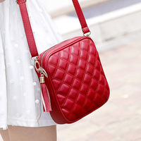 New 2014 Sac Fashion for Women Soft Leather Handbag Small Plaid Tassel Shoulder bag Women Messenger Bag Red Black