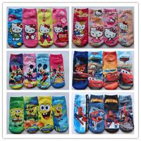 Retail 2pairs/lot Children's Mickey socks 2014 New Summer baby cartoon hello kitty socks kids cotton SpiderMan sock boys girls
