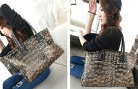 2014 Free Shipping Discounts Fashionable Casual Skull Print Rivet All-Match PU Women's One Shoulder Totes Bag Handbag