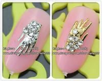 rh1195/1196 wholesale new  3D Alloy silver Nail Art stickers Rhinestones Decoration Nail art 30PCS/  nail jewelry free shipping