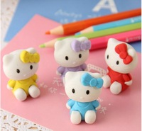 Free shipping Min.order $30(can mixed) creative stationery-Kit cat eraser #ER2018 Random colors
