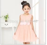 New fashion 2014 summer Princess wedding girls evening dress girls dress girl party dress children clothing white pink