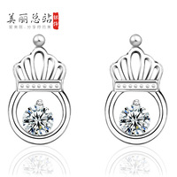 925 pure silver stud earring female fashion all-match 925 pure silver anti-allergic pure silver earrings