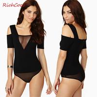 Fashion patchwork richcoco gauze tube top slim hip V-neck strapless jumpsuit  short-sleeve tight