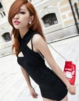 2014 Strapless Slim package hip nightclub ladies sexy little black dress women's one-picece dress female free shipping