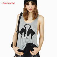 Fashion sexy  cat print curved asymmetrical sweep loose vest d264
