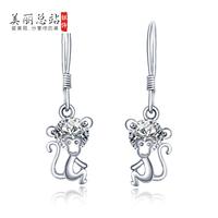 925 pure silver little monkey earrings stud earring female 925 pure silver anti-allergic pure white fungus