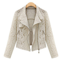 2014 NEW Women's Boutique Fashion Lace Hollow Metal Zipper Was Thin Lapel Long Sleeve Jacket Q58