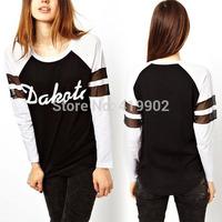 Womens Round Neck Black/white long-sleeved T-shirt Letters Print Baseball Tee