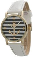 New Fashion Geneva Brand Stripe Gold Anchor Leather Women Lady Dress Watch White