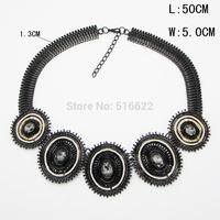 Brand Designer Choker Women Black Necklaces Fashion Statement Necklace 2014 Vintage Luxury Big Necklace