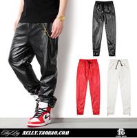 Hot, Top Quality, 2014 men's brand leather pants mens zipper design Breathable jogger original design pu classic trouser 3 Color