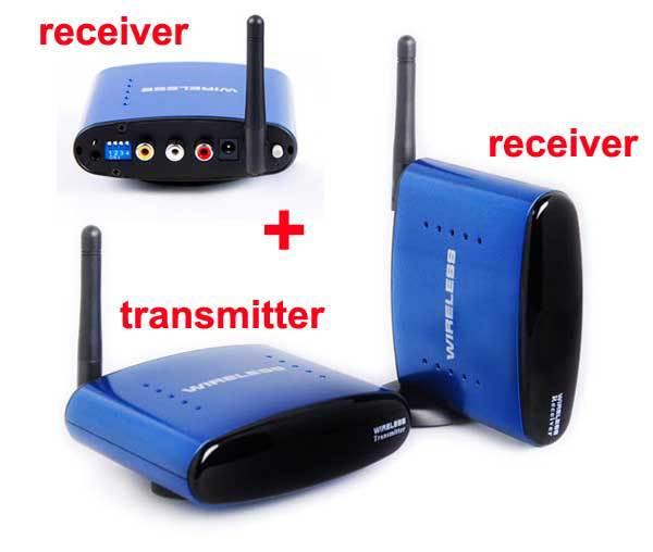 1 transmitter and 2 receivers 5.8G Wireless AV Transmitter Receiver TV Transmitter with IR Remote cable for PAT-530(China (Mainland))