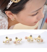 Mix Color! Wholesale Crystal Earrings Korean Butterfly Jewelry Fashion Gold Plated Flower Small Earrings 2E229