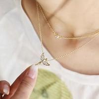lz Jewelry Hut  The 2014 Wholesale Fashion Rhinestone Angel Womens Pearl Pendant Necklace 2N280