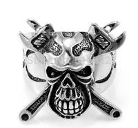 Titanium Stainless Steel Skull Crossbones Ring Wrench Men's Wedding Band Cool