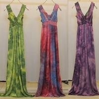 2014 Plus Size Dress Clothes Pring Tie-dye Desigual Women Summer Long Cocktail Dresses 5XL