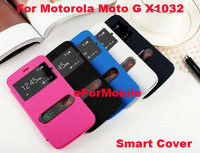 2014 New PU Leather Case Battery Cover Mobile Phone Cover Smart Case Smart Cover For Motorola Moto G X1032