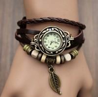 New Genuine Leather Hand Knit Vintage Strap Watches,bracelet Wristwatches Leaf Pendant Ladies, 2B210