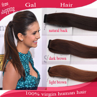 "2014 New arrival Retail Straight Ponytail horstail 100g 20"" Ponytails Hair Clips In Extension"