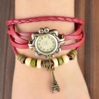 New Arrivals  Women Genuine Leather Vintage Strap Watch,Eiffel Tower Pendant Bracelet Watches 2B212
