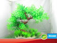 3D Green Aquarium Decoration Plastic Plants Ornament Tree Grass H30cm W35cm free shipping