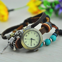 New Arrivals Leather Strap Watches with turquoise Retro Beads charm Prayer Wheel bracelet quartz wristwatches for women 2B206