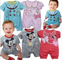 12 pcs/lot ,baby girl and boy minnie and mickey rompers ,0.6kg