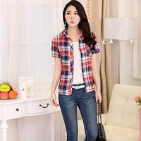 New 2014 Women Blouses Fashion Cotton Shirt Women Work Wear Plaid Blusas Tops for Women Plus Size Casual Blouse YS8008