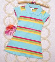 New arrival summer baby girls Short sleeve blue striped sport dress  size 4 6 8 10 12