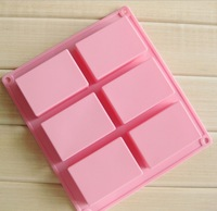 5pcs/lots 6 Cavities 3D handmade Rectangle Square silicone soap Mold chocolate cookies mould cake decorating fondant molds#H0261