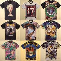 Free shipping men Classic 3D T-shirt 3d print Marilyn Monroe/Ice Cream/Watermelon/cat/flower/elephant/clown tees top Size M-XXL