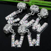 Sale 20 pcs AB Crystal Alphabet Rhinestone Letter W Charms Pendants European Beads Fits Bracelet DIY Jewelry, FREE SHIPPING