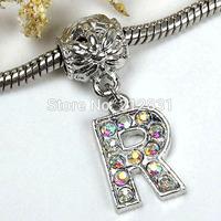 Sale 20 pcs AB Crystal Alphabet Rhinestone Letter R Charms Pendants European Beads Fits Bracelet DIY Jewelry, FREE SHIPPING