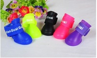 Hot sale 4pcs/sets Free shipping Candy Colors DOG BOOTS Waterproof Protective Rubber Pet Rain Shoes Booties S M L   #H0223