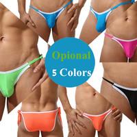New Brand Nylon Removable String Mens 5 Colors Sexy Comfortable Bikini Briefs Underwear Free Size(Size L)