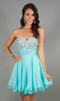 Prom Dresses 2014 New Arrival V-neck Manual Sequined A-Line Chiffon Party Dress Multi-Colors Short Straps Bridesmaid Dresses