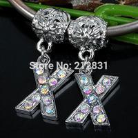 Sale 20 pcs AB Crystal Alphabet Rhinestone Letter X Charms Pendants European Beads Fits Bracelet DIY Jewelry, FREE SHIPPING