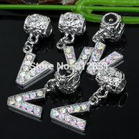 Sale 20 pcs AB Crystal Alphabet Rhinestone Letter V Charms Pendants European Beads Fits Bracelet DIY Jewelry, FREE SHIPPING