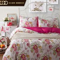 Free shipping wholesale home textile 100% slanting cotton stripe print four piece set 100% cotton princess bedding duvet cover
